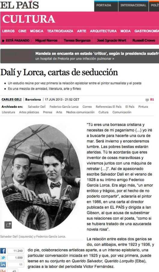 Dali y Lorca, cartas de seducción